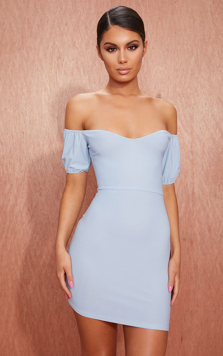 Dusty Blue Crepe Bardot Puff Sleeve Bodycon Dress