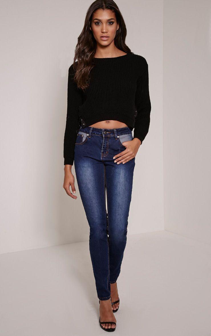 Kennedy Indigo Blue Contrast Pocket Skinny Jeans 1