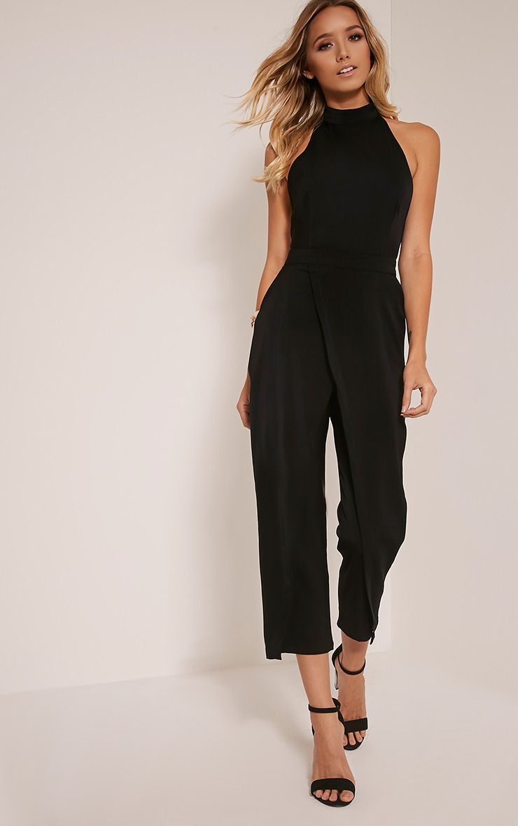 Carolinah Black Wrap Detail High Neck Jumpsuit