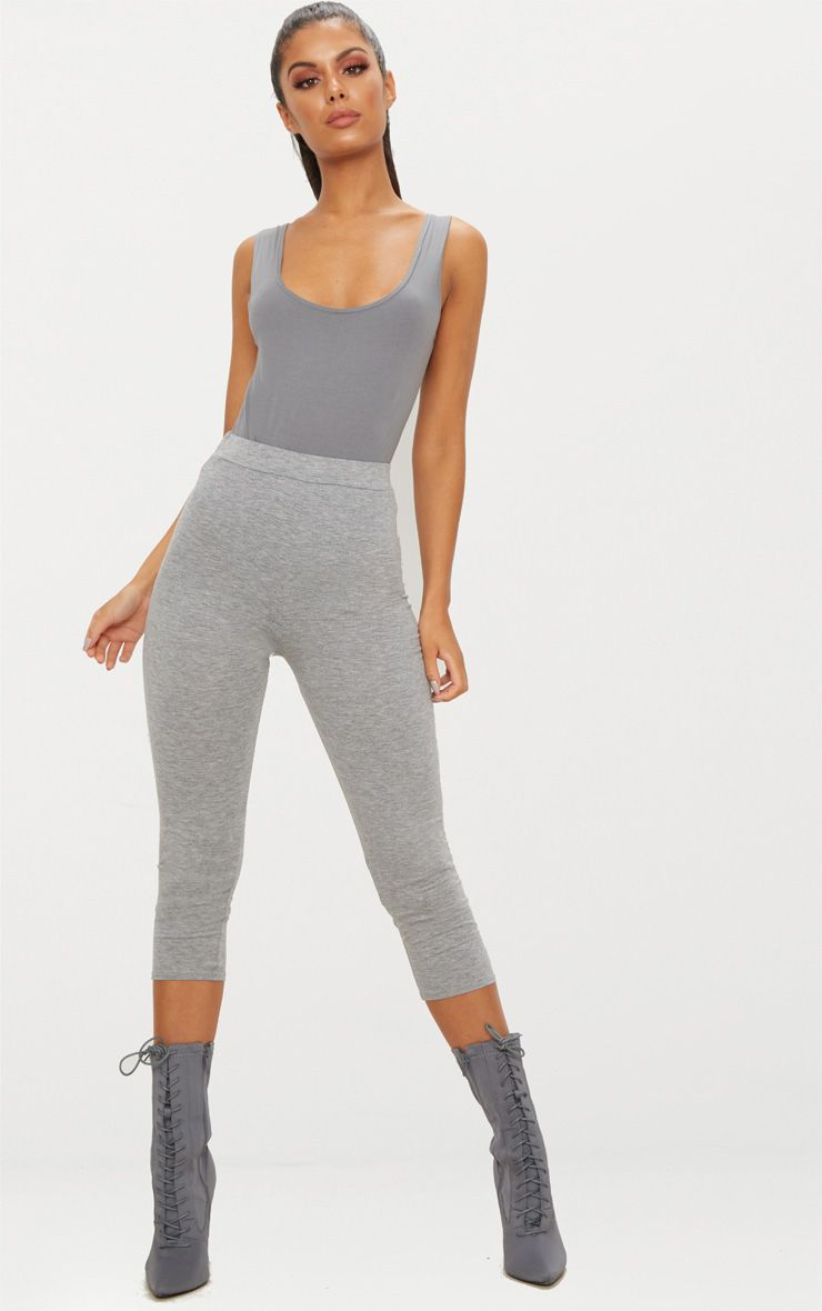 Grey Basic Cropped Jersey Leggings