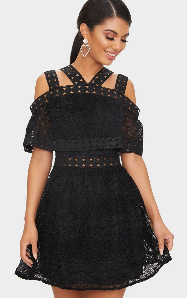 Black Cold Shoulder Lace Skater Dress