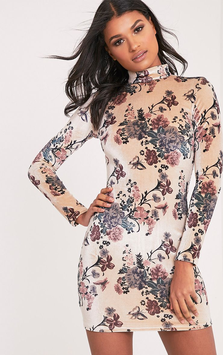 Kirah Cream High Neck Floral Velvet Bodycon Dress