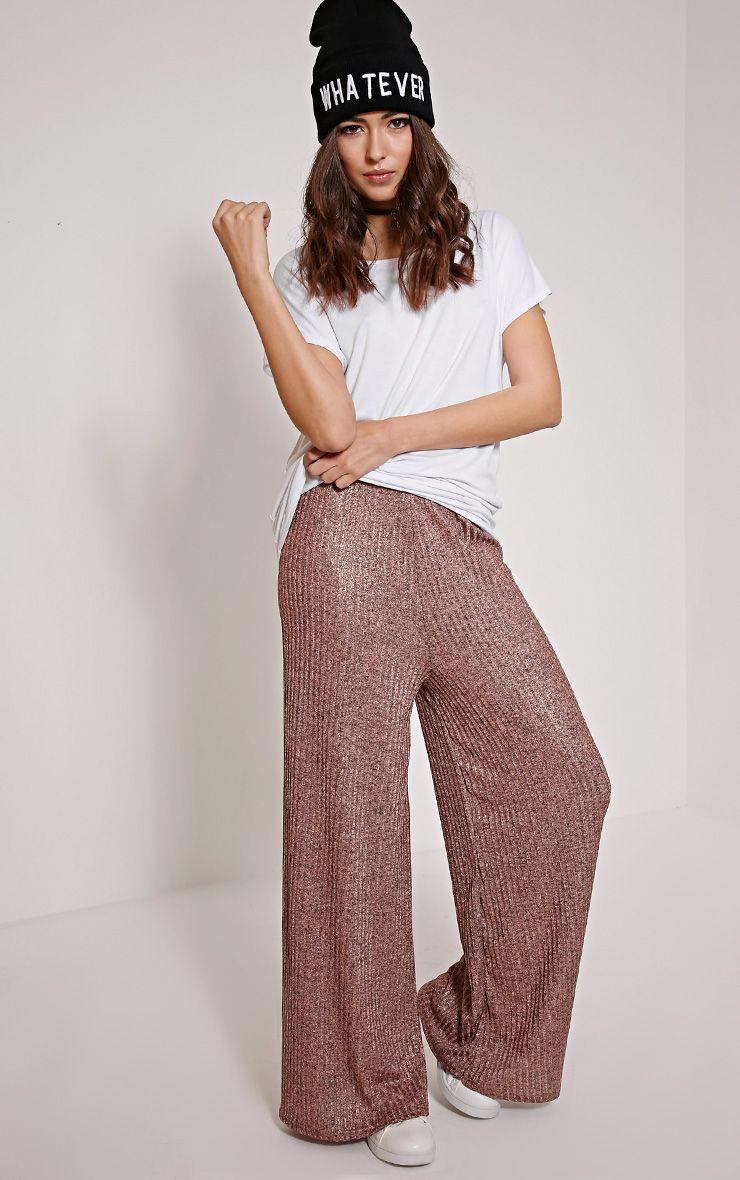 Nora Bronze Metallic Rib Flared Trousers 1