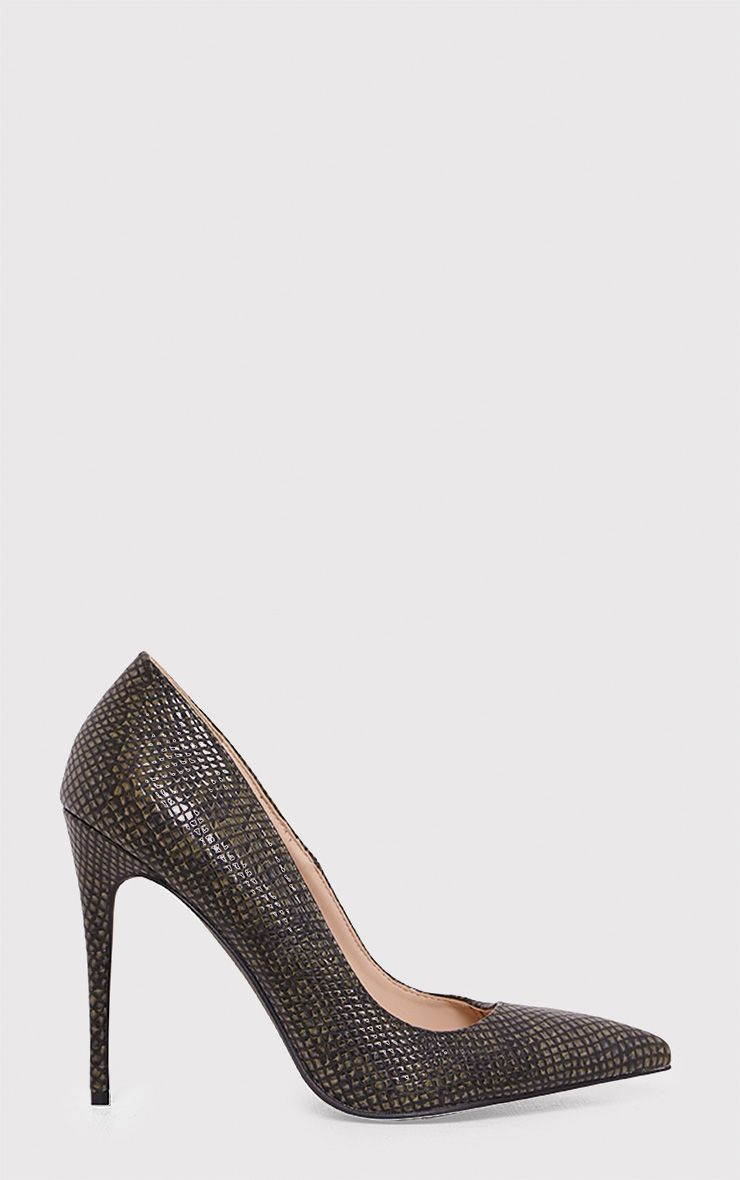 Ellia Khaki Faux Snake Skin Pointed Heels
