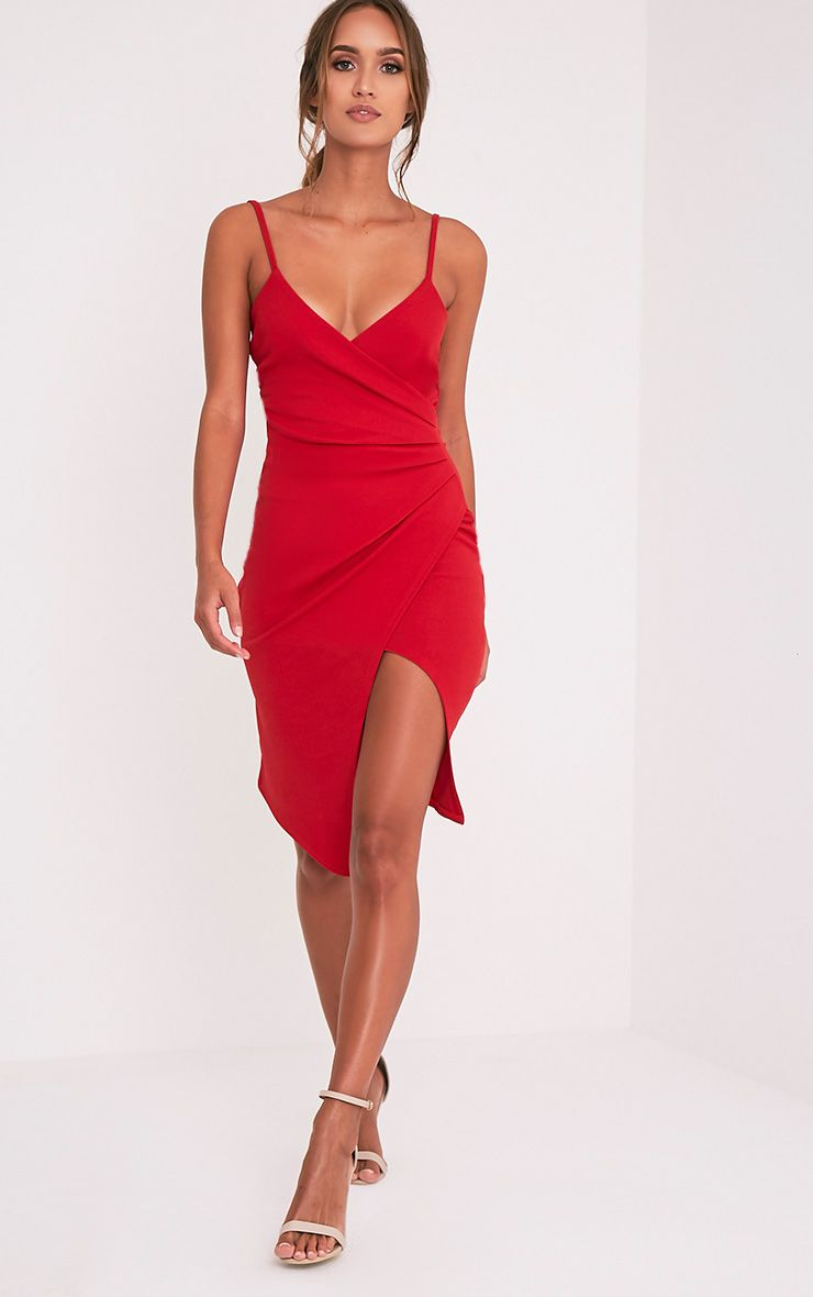 Lauriell Red Wrap Front Crepe Midi Dress 1