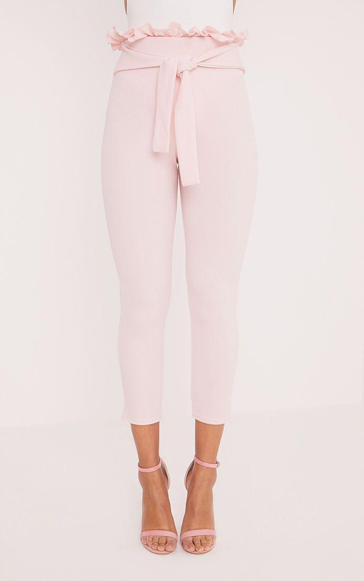 Perlita Pink Paperbag Skinny Trousers Trousers