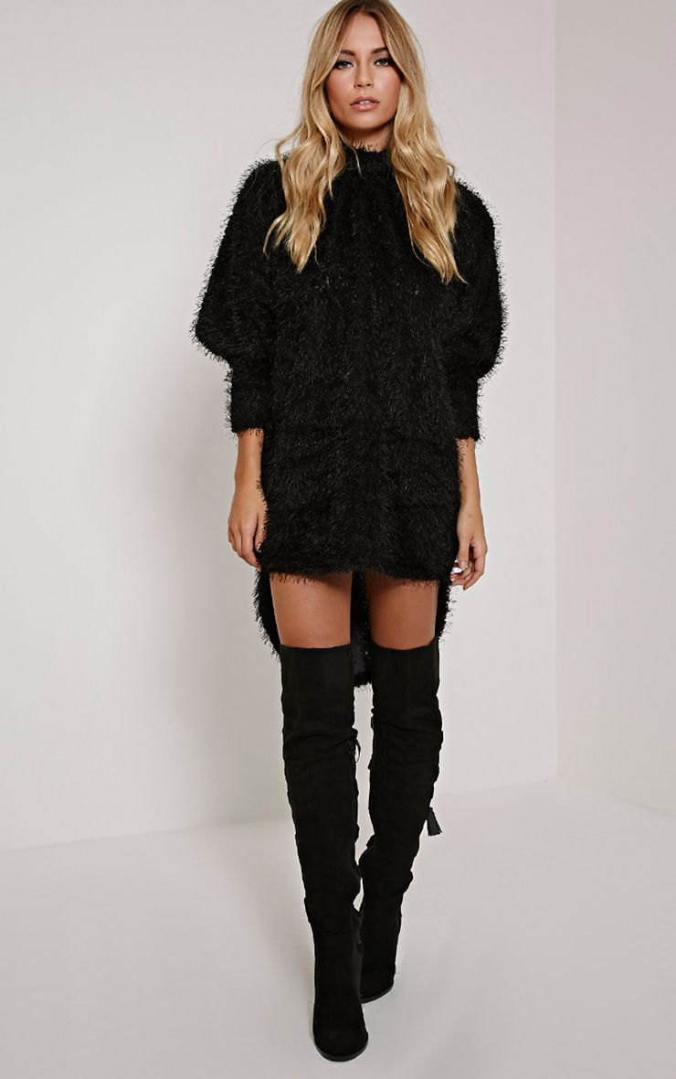 Katina Black Oversized Fluffy Knit Jumper 1