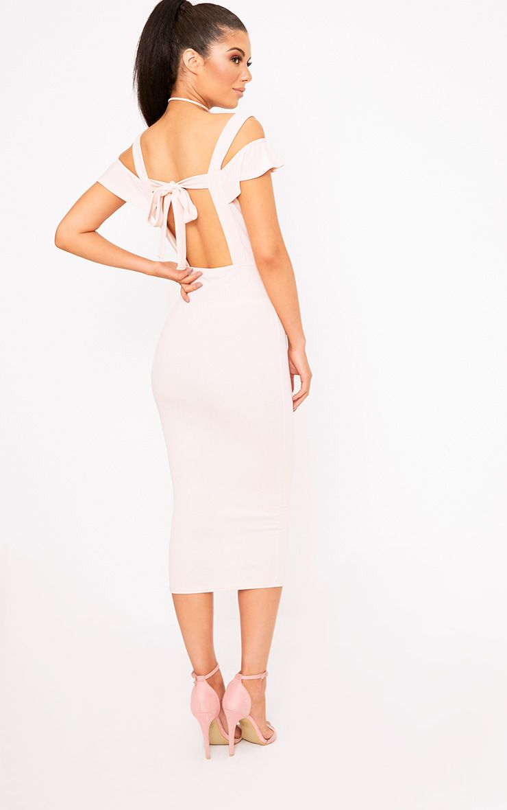 Nude Cold Shoulder Tie Back Midi Dress