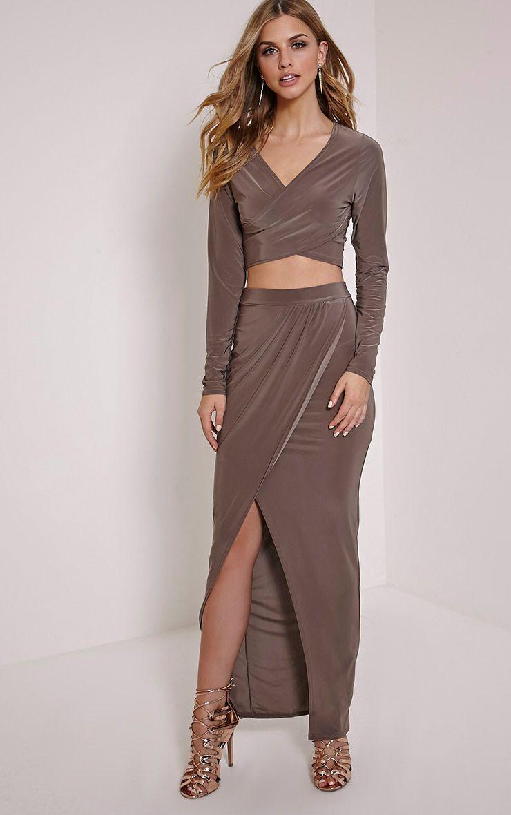 Ginevia Mocha Slinky Split Hem Maxi Skirt 1