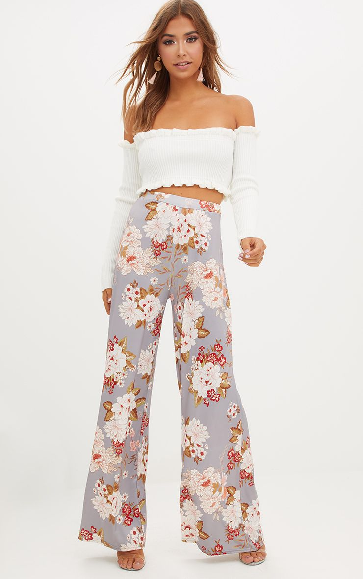 Grey Floral Print Slinky Wide Leg Trousers