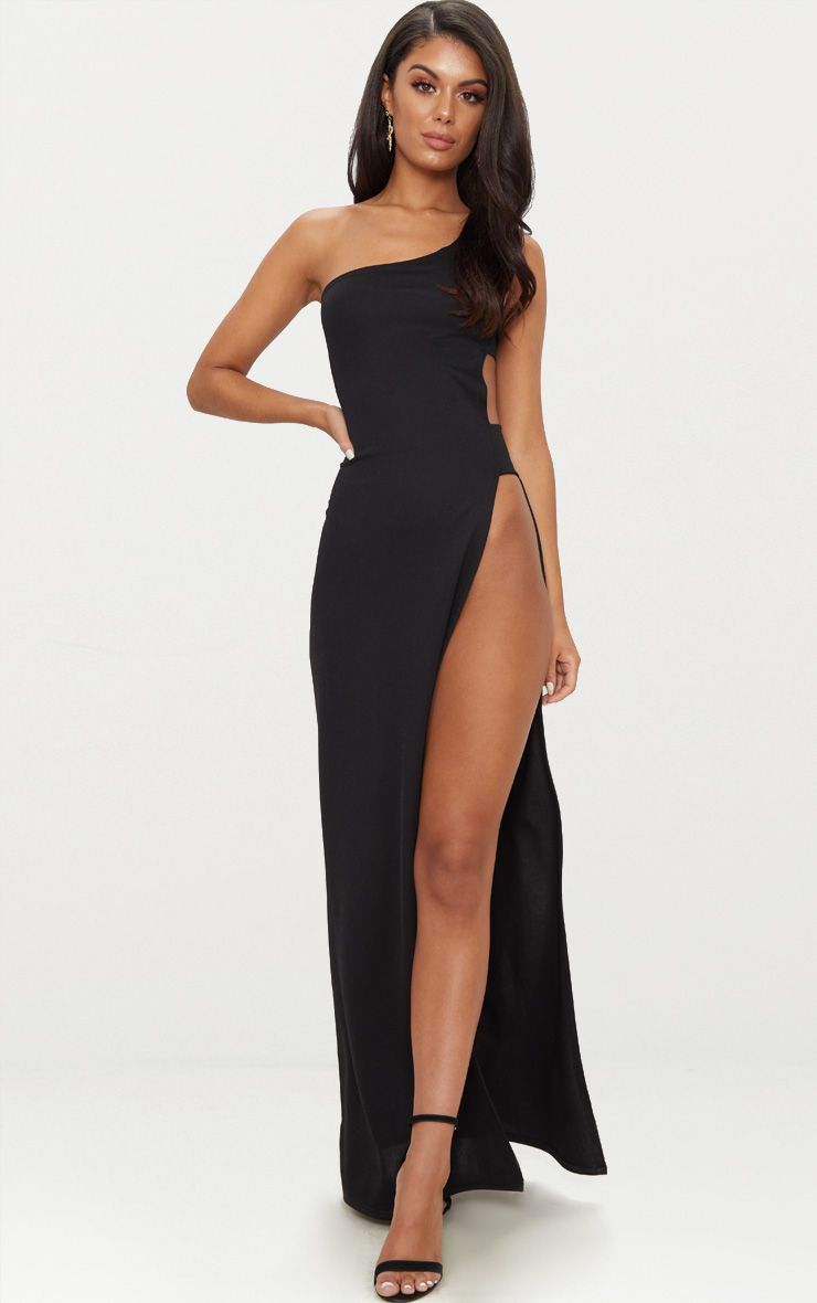 Black One Shoulder Extreme Split Cut Out Detail Maxi Dress ...