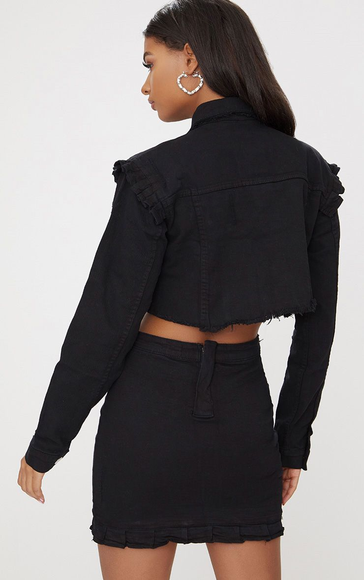 Black Ruffle Cropped Denim Jacket | Denim
