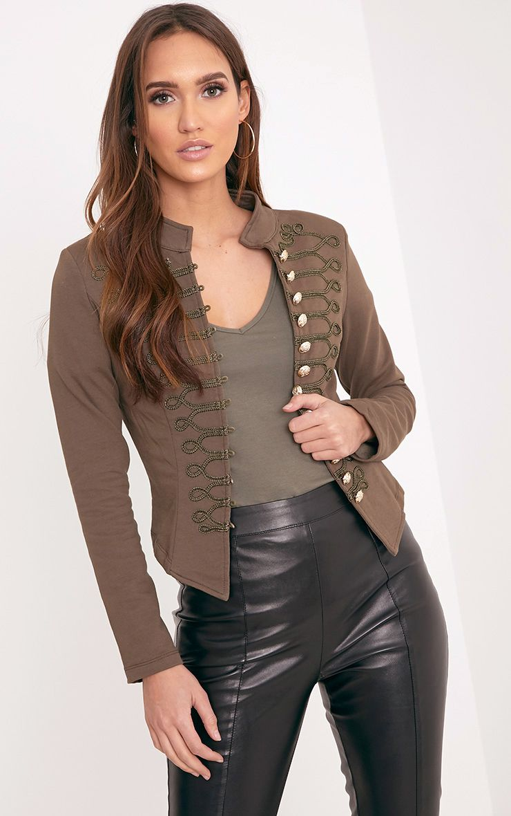 Zoeey Khaki Slim Fit Cropped Military Jacket