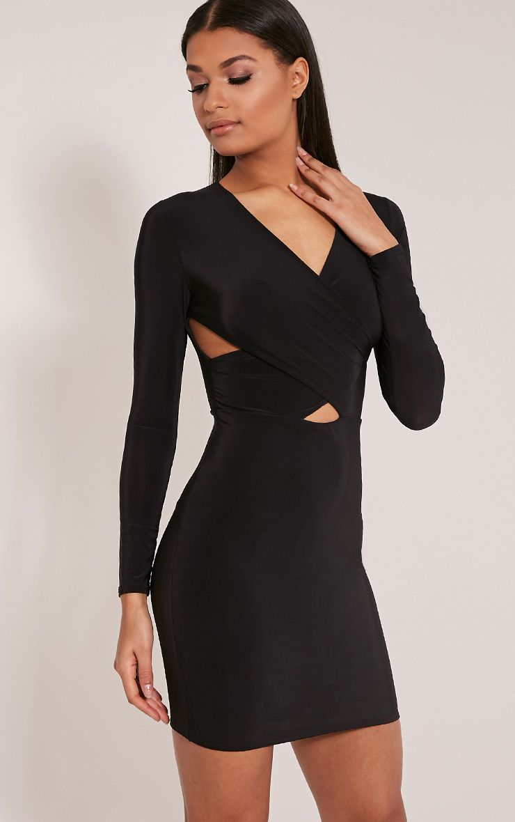 Tamaya Black Long Sleeve Cross Front Bodycon Dress 1