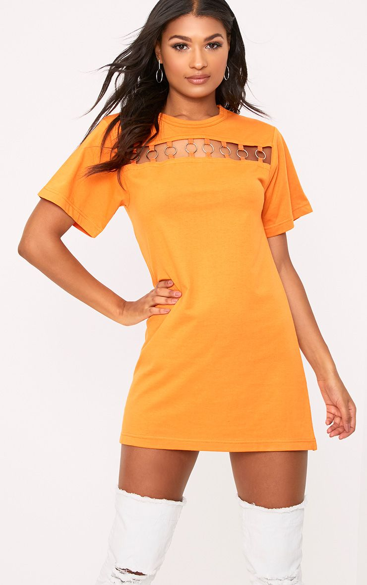 Orange Jersey Ring Chest Detail T Shirt Dress