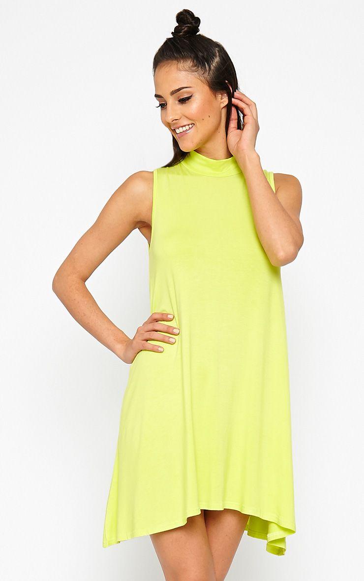 Aishha Lime High Neck Jersey Swing Dress 1