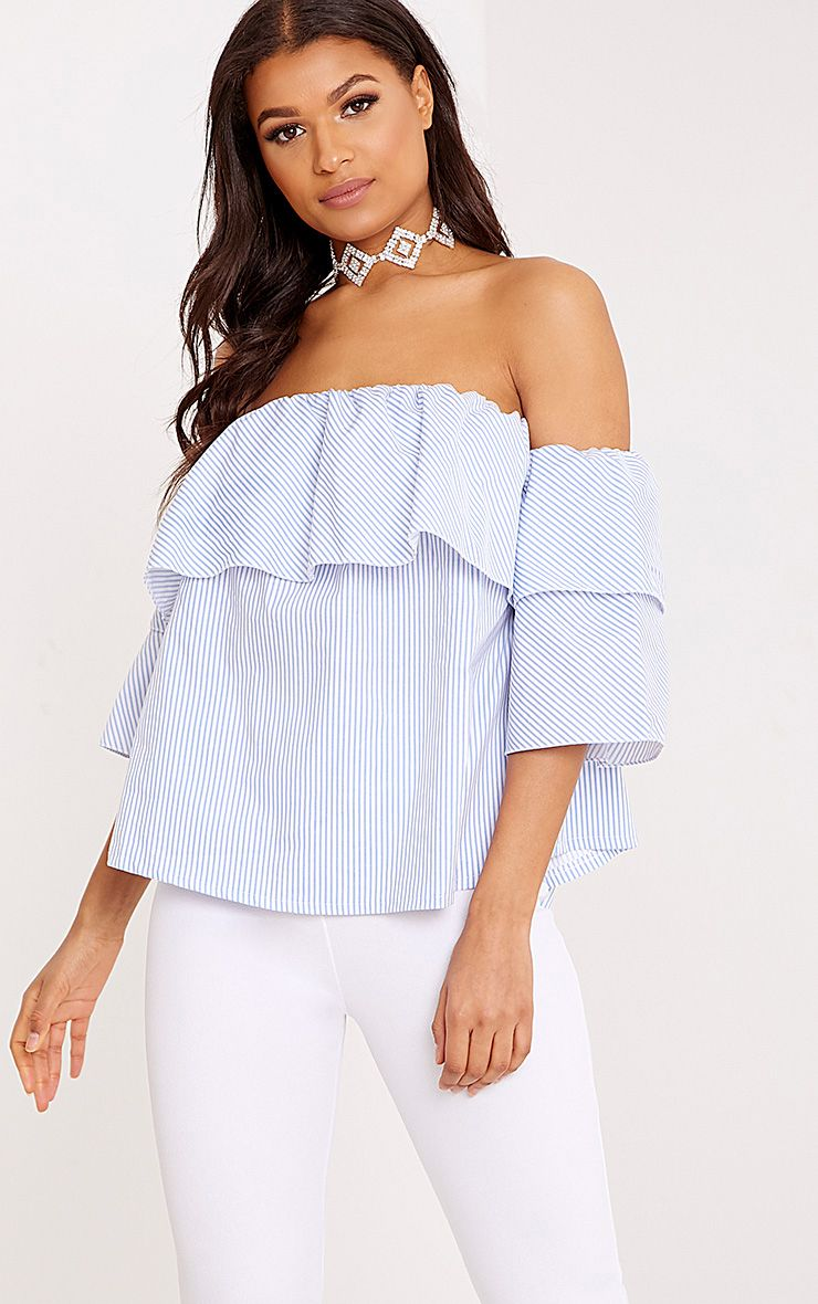 Kaarina Blue Stripe Bardot Shirt