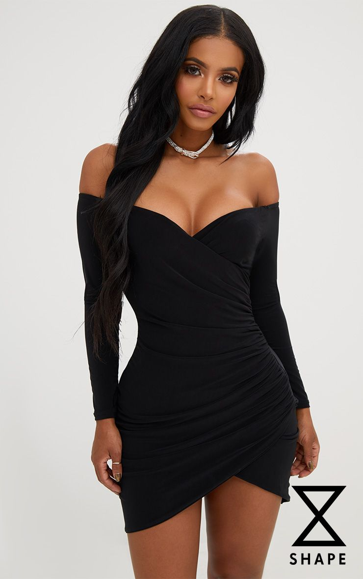 Shape Black Ruched Bardot Bodycon Dress