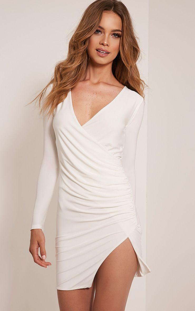 Iona Cream Slinky Wrap Over Bodycon Dress 1