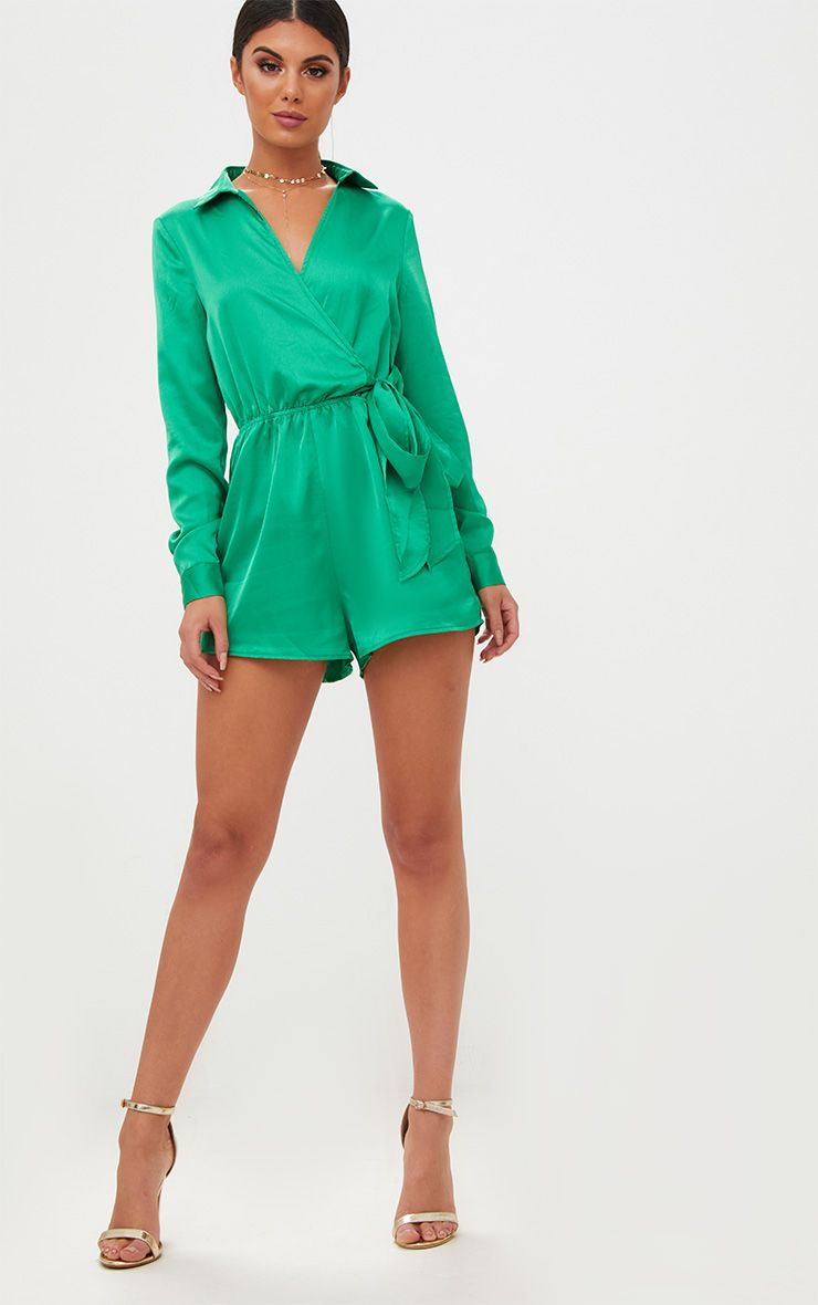 Green Satin Wrap Tie Front Playsuit