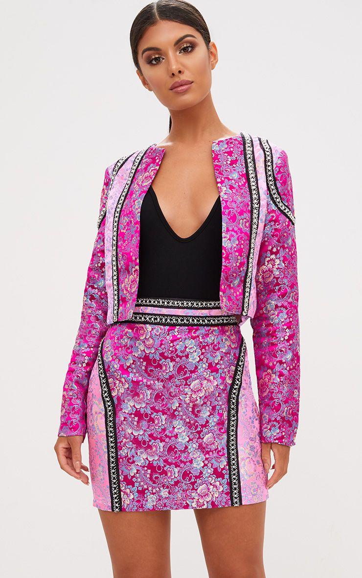 Premium Pink Jacquard Embellished Mini Skirt