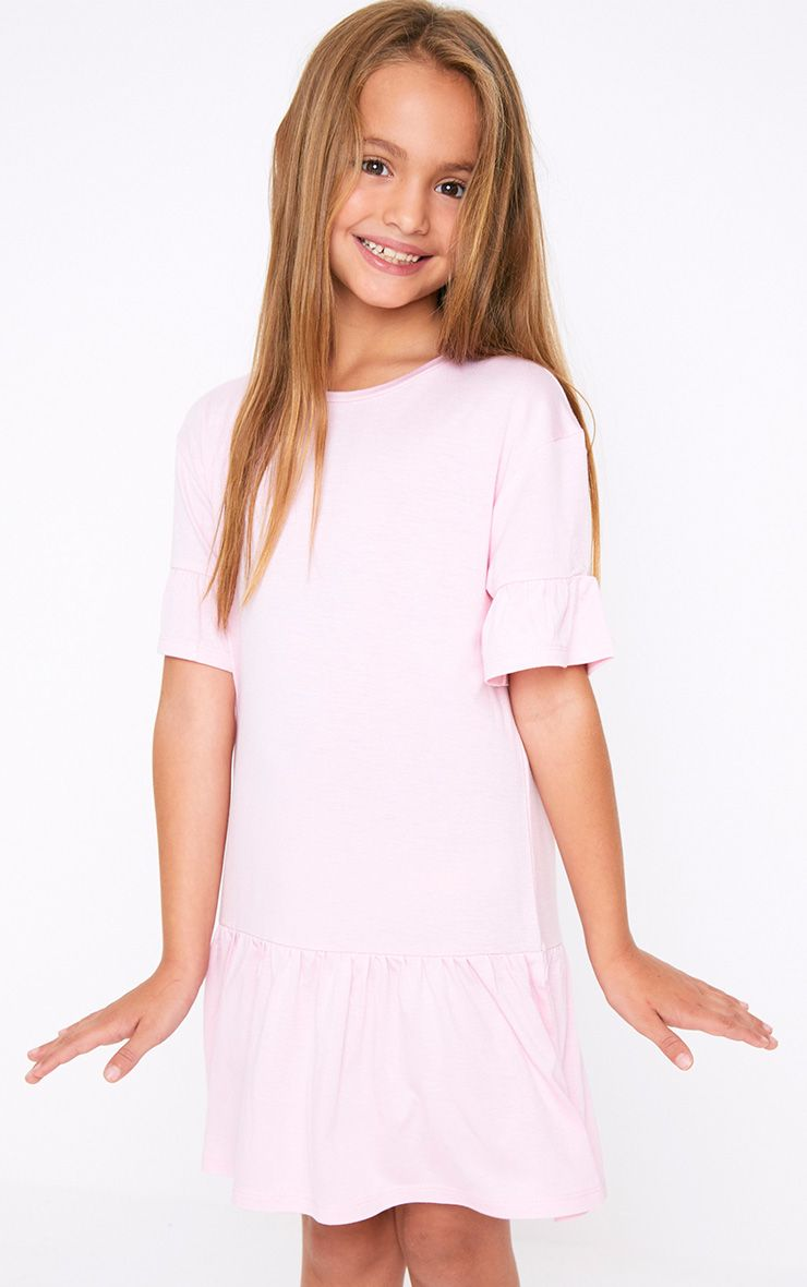 Frill Hem Pink Dress