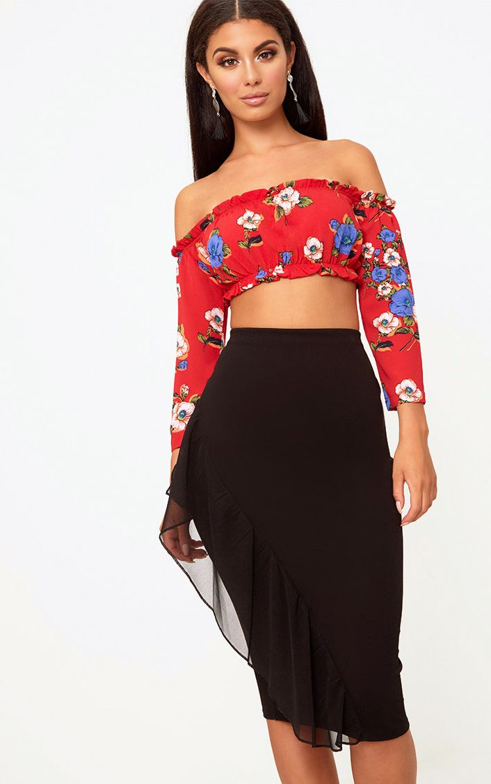 Black Tulle Frill Midi Skirt