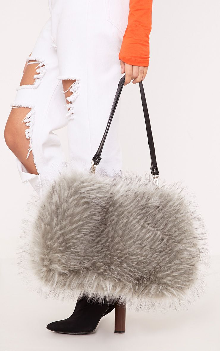 Jena Grey Fur Shoulder Bag