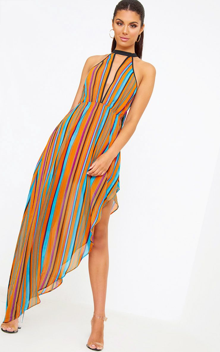Orange Plunge Stripe Maxi Dress