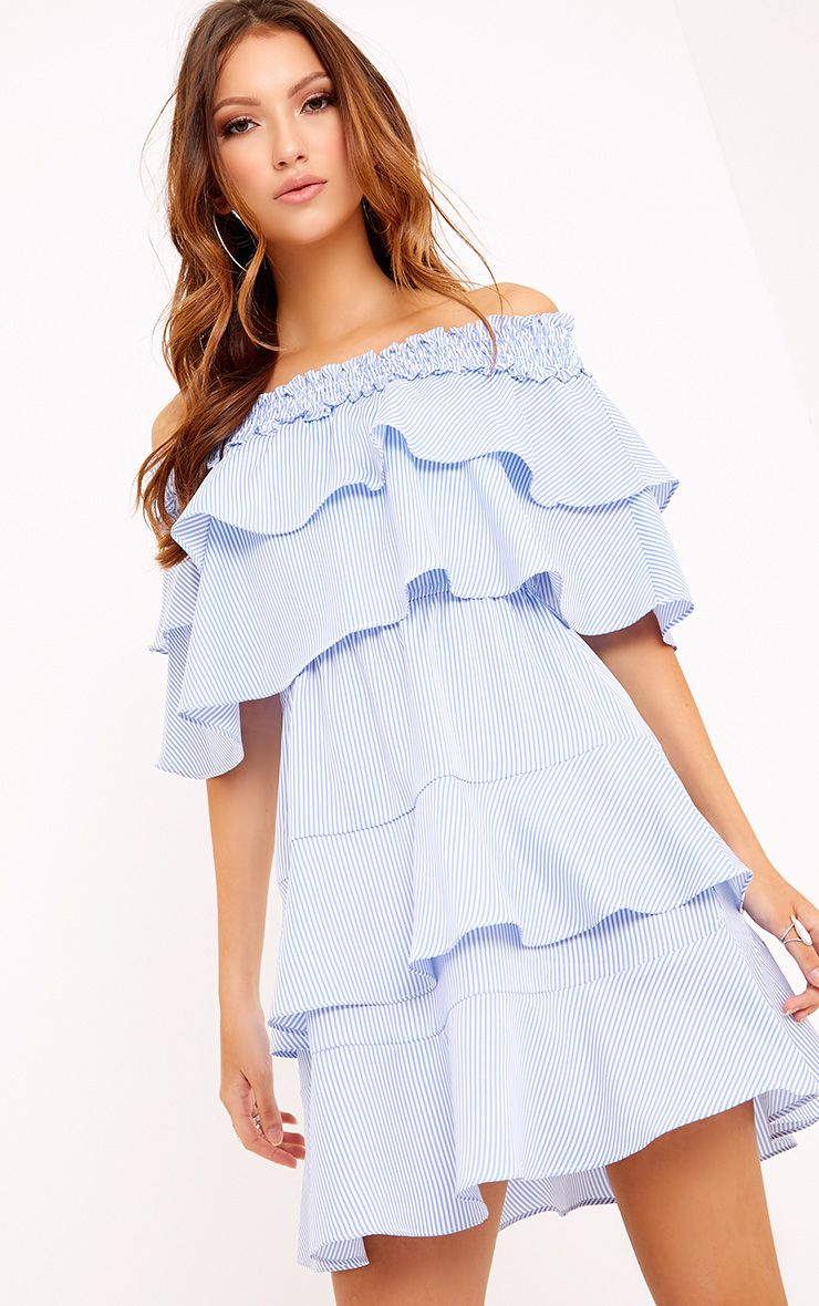 Honourr Striped Bardot Frill Detail Shift Dress Blue