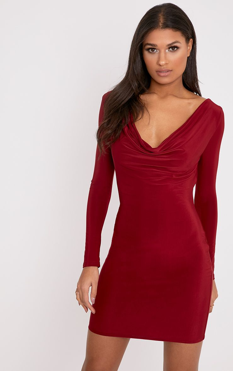 Celestia Burgundy Cowl Neck Bodycon Dress
