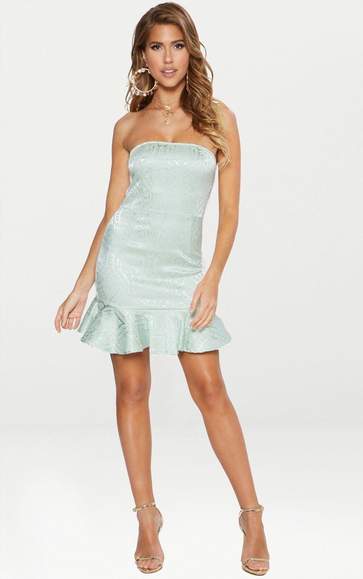 Pastel Green Jacquard Bandeau Frill Hem Bodycon Dress