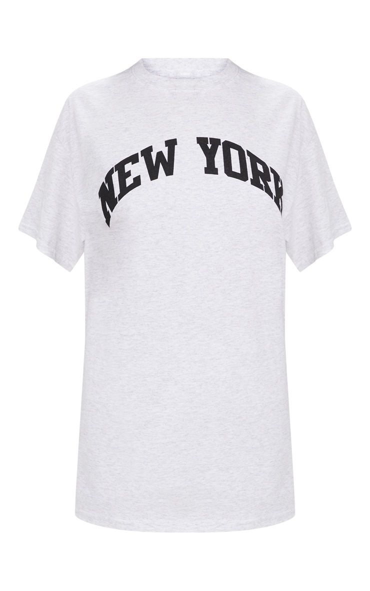 grey new york slogan oversized t shirt tops. Black Bedroom Furniture Sets. Home Design Ideas