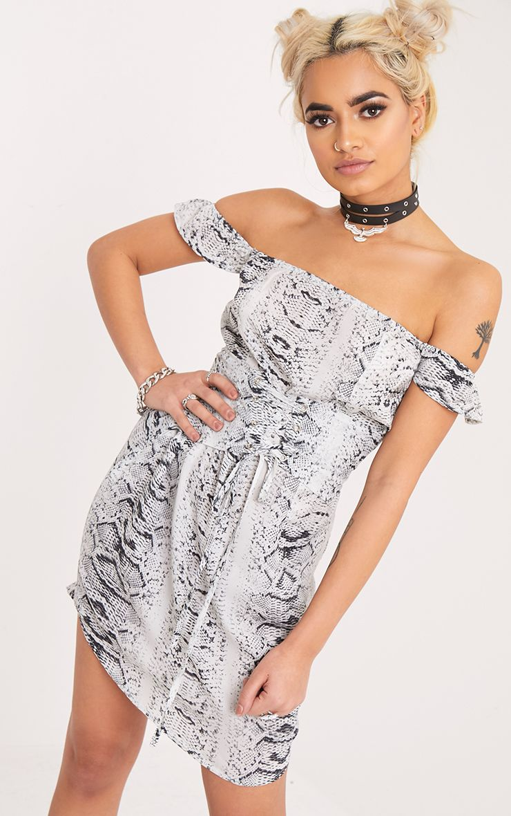 Tabitha Grey Snake Print Corset Detail Bardot Bodycon Dress