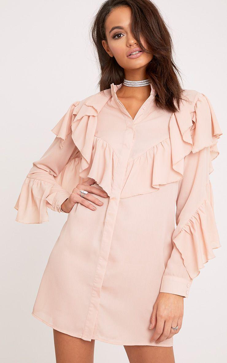 Jezmeena Dusty Pink Frill Detail Shirt Dress