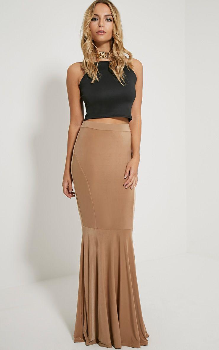 Silvie Camel Fish Tail Slinky Maxi Skirt 1