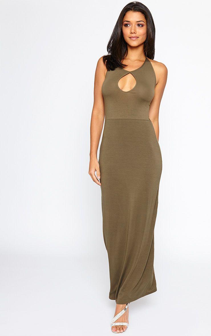 Kerry Khaki Caged Back Maxi Dress 1