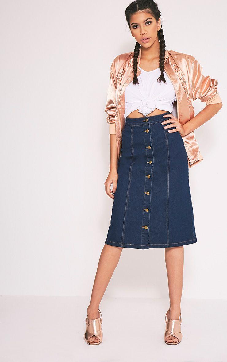 Cammie Dark Wash Midi Skirt