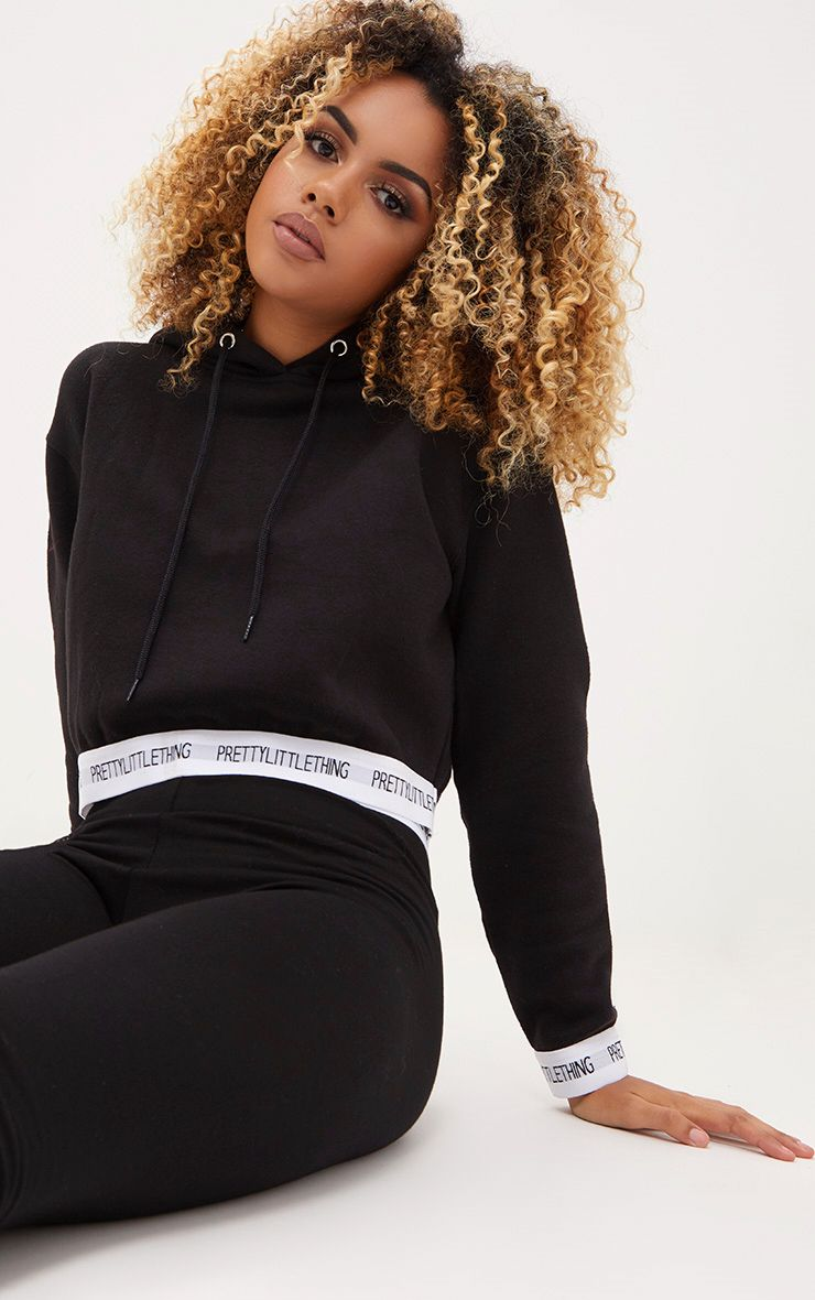 Black PrettyLittleThing Trim Cropped Hoodie