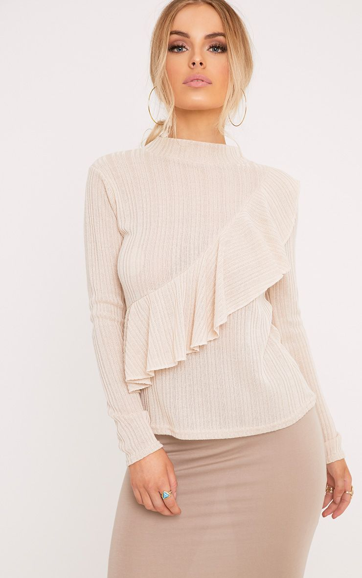 Yuliana Stone Ruffle Detail Knit Jumper