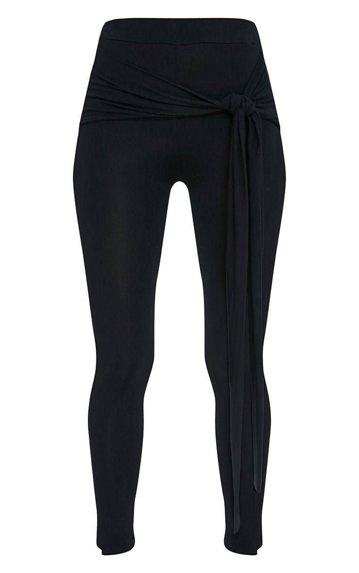 Basic Leggings classiques noirs avec nœud sur le devant 3