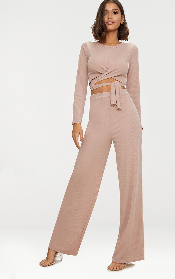 Stone Wide Leg Rib Trousers