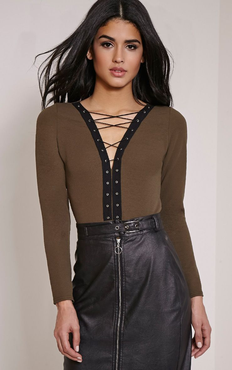 Ilina Khaki Crepe Lace Up Front Bodysuit 1