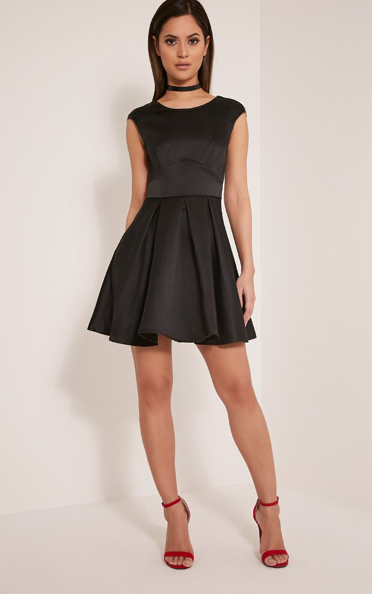 Loura Black Satin Open Back Skater Dress