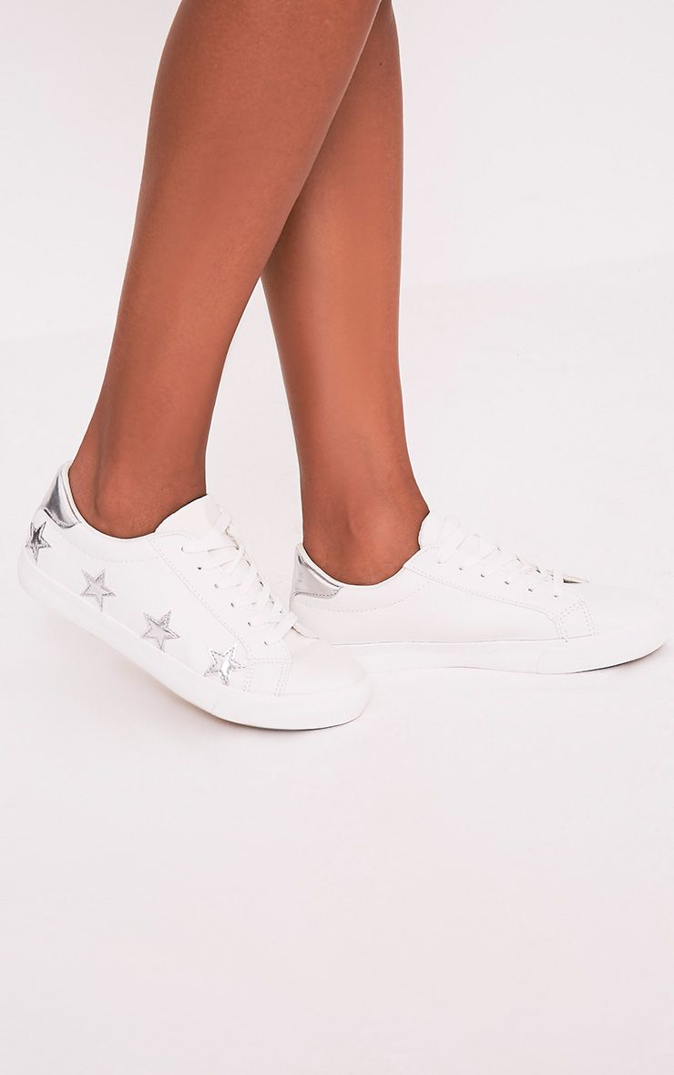 Ami Silver Metallic Star Trainers
