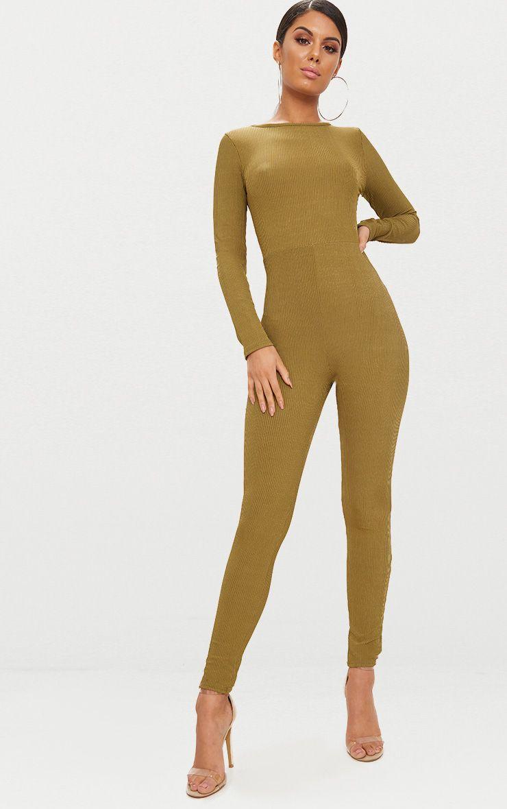 Khaki Ribbed Long Sleeve Scoop Back Jumpsuit 1