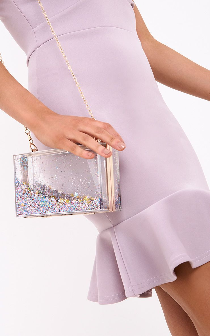 Multi Sequin Clear Box Clutch
