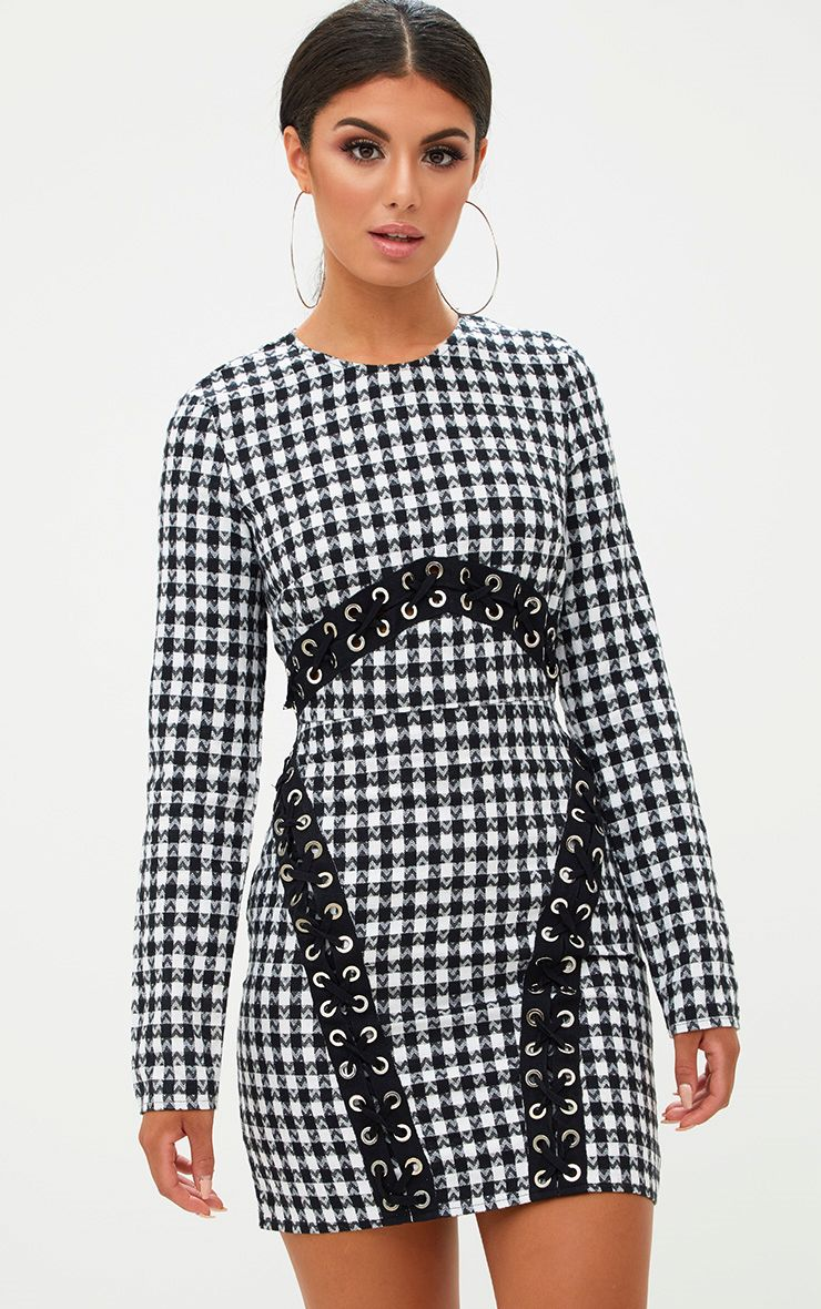 Black Checked Lace Detail Bodycon Dress