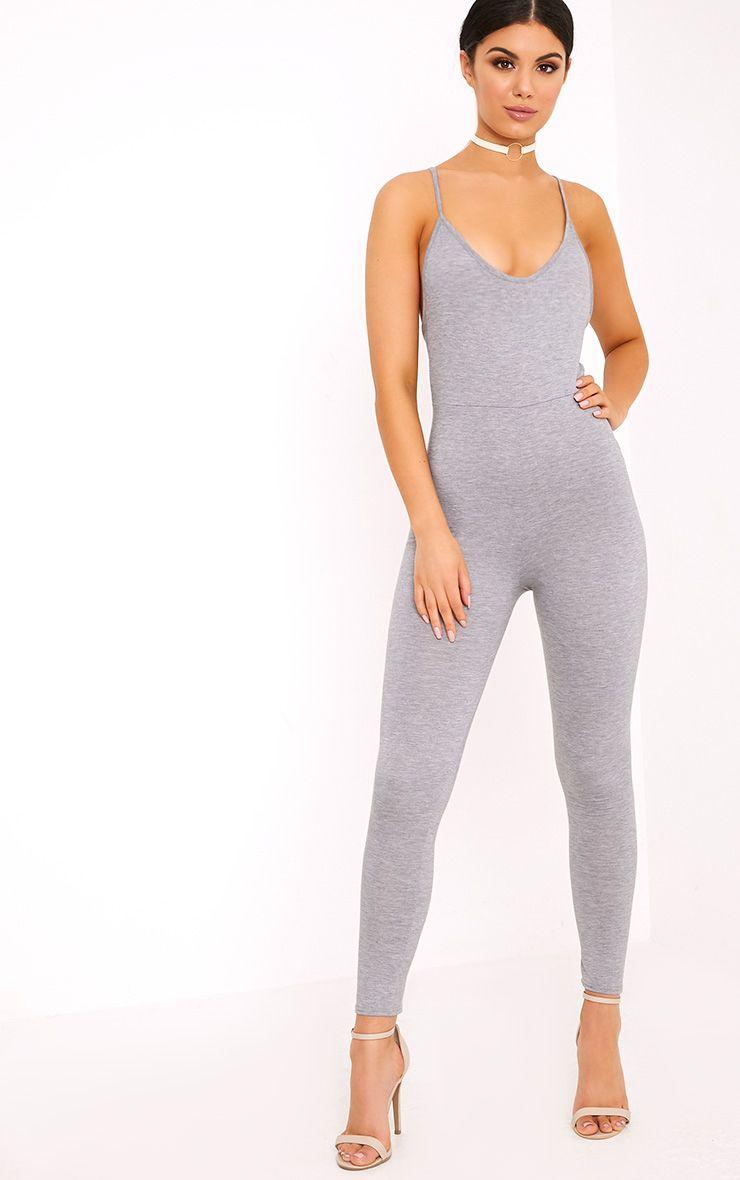 Khlara Grey Jersey Low Back Jumpsuit 1