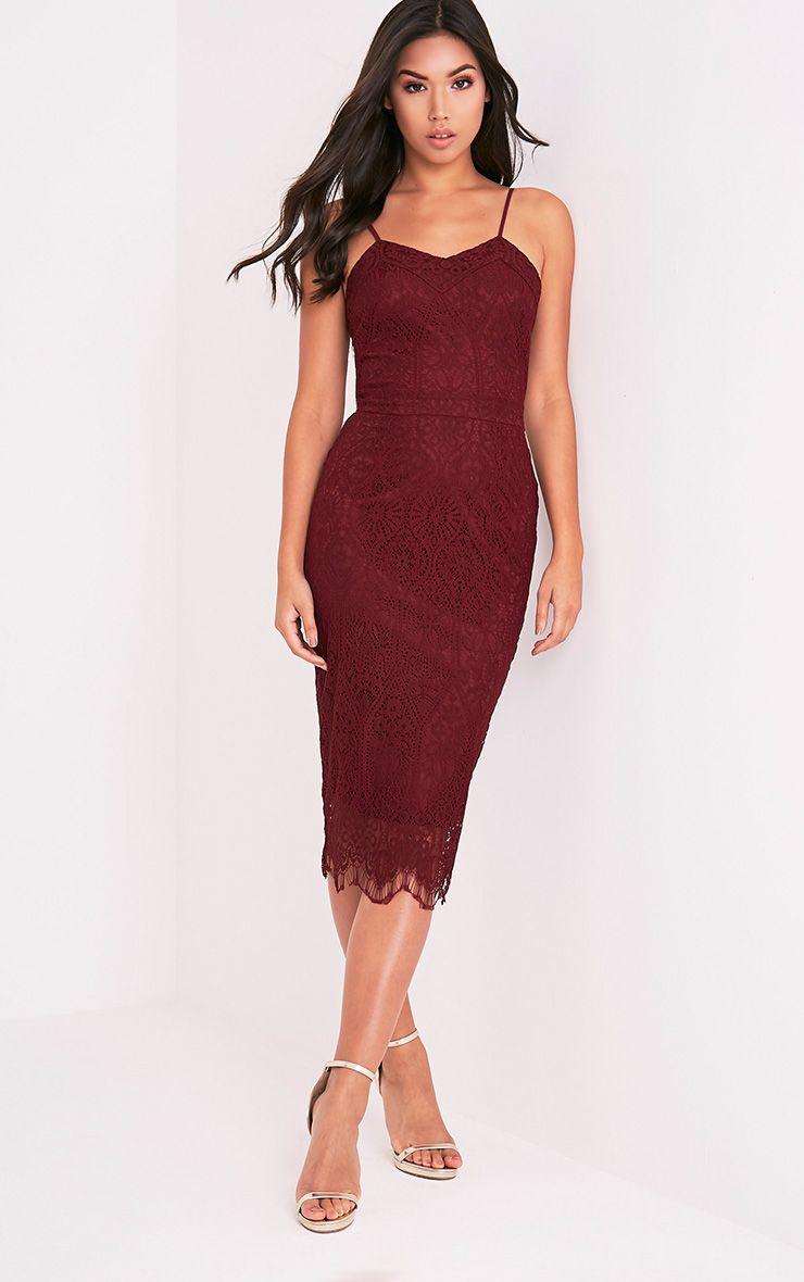 Stacie Burgundy Lace Midi Dress 1